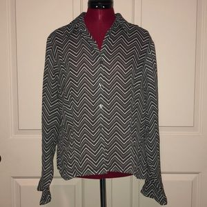 Apostrophe Semi Sheer Zig Zag Blouse Top Womens 16